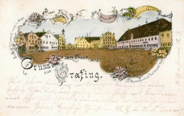 Alte Brauereien Bildpostkarte, mit kunstvoll illustriertem Motiv des Grafinger Stadtzentrums